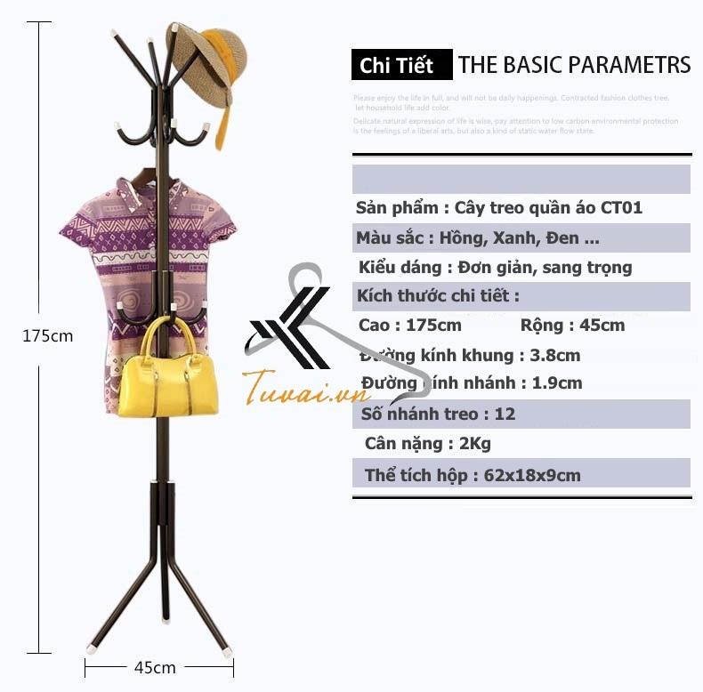 Chi tiết kỹ thuật cây treo quần áo Hà Nội
