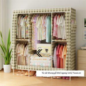 Tủ vải khung gỗ Chuqi màu caro
