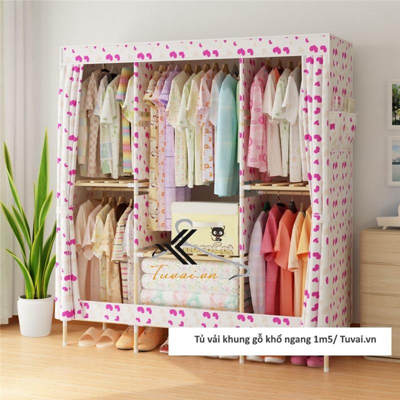 Tủ vải khung gỗ Chuqi màu họa tiết trái tim