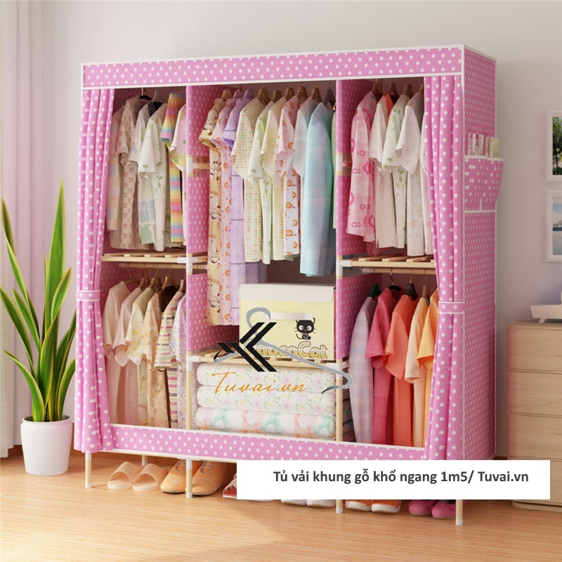 Tủ vải khung gỗ Chuqi màu hồng chấm bi