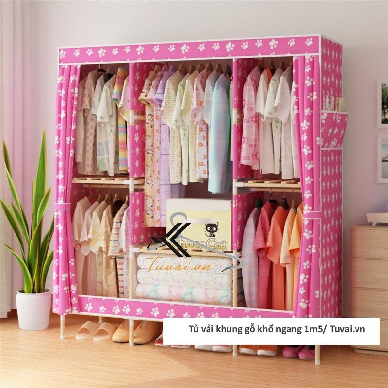 Tủ vải khung gỗ Chuqi màu hồng chân gấu