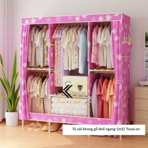 Tủ vải khung gỗ Chuqi màu hồng lá