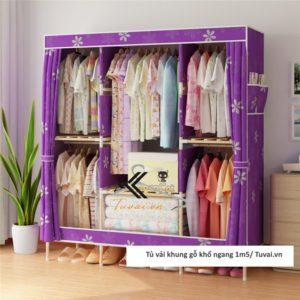 Tủ vải khung gỗ Chuqi màu tím lá