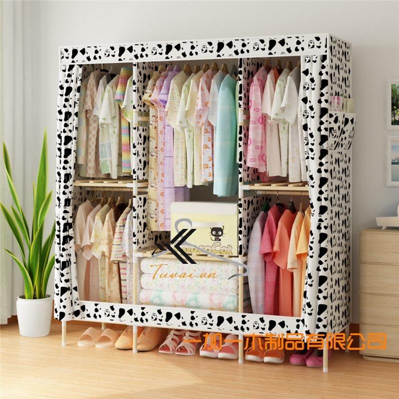 Tủ vải khung gỗ Chuqi màu trắng đen