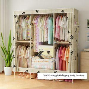 Tủ vải khung gỗ Chuqi màu vàng hoa