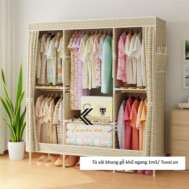 Tủ vải khung gỗ Chuqi màu vàng kem