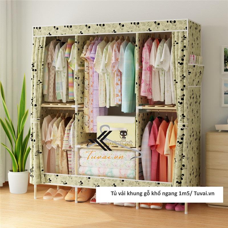 Tủ vải khung gỗ Chuqi màu vàng Miceky
