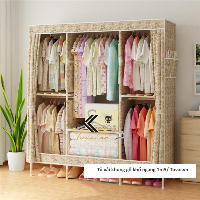 Tủ vải khung gỗ Chuqi màu vàng