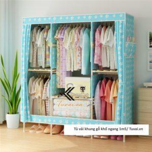 Tủ vải khung gỗ Chuqi màu xanh