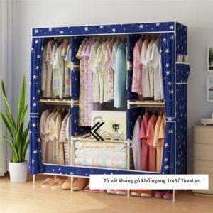 Tủ vải khung gỗ Chuqi màu xanh galaxy