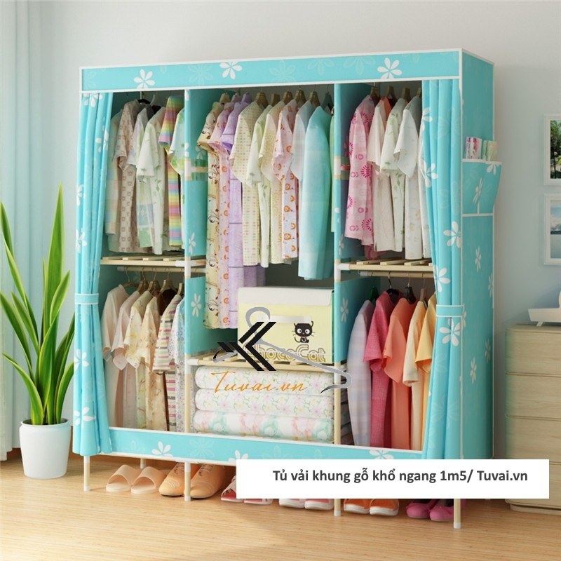 Tủ vải khung gỗ Chuqi màu xanh lá