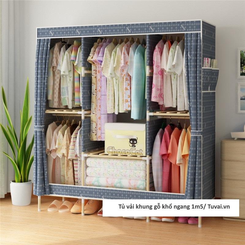 Tủ vải khung gỗ Chuqi màu xanh lam