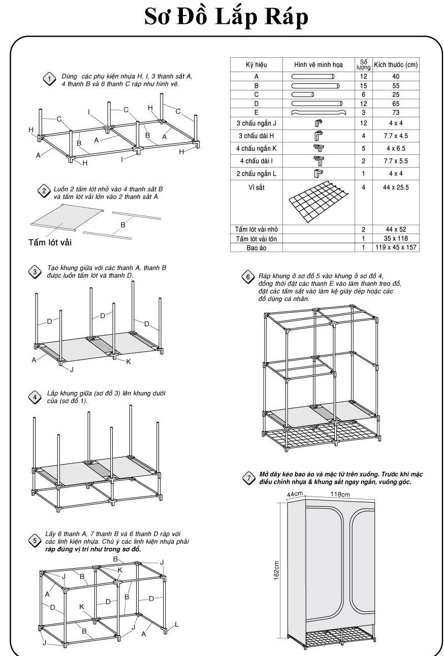 Hướng dẫn lắp đặt tủ vải thanh long tvai08