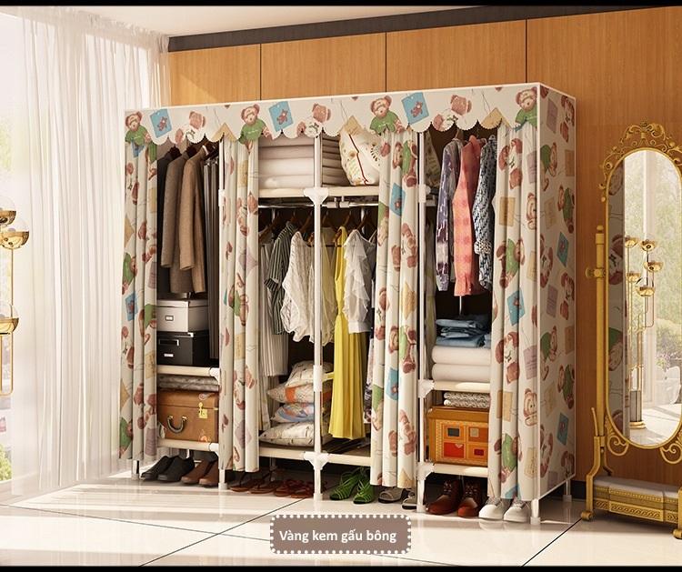 Tủ vải khung thép Inox 25mm màu vàng họa tiết gấu