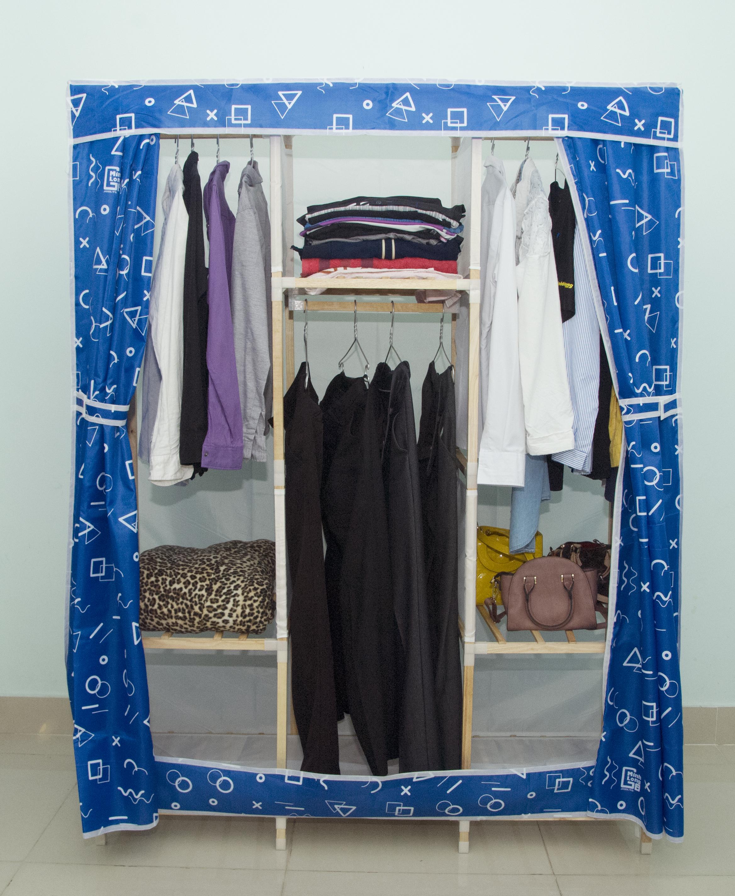 Tủ vải khung gỗ Minh Long khổ 1m3 màu xanh đậm
