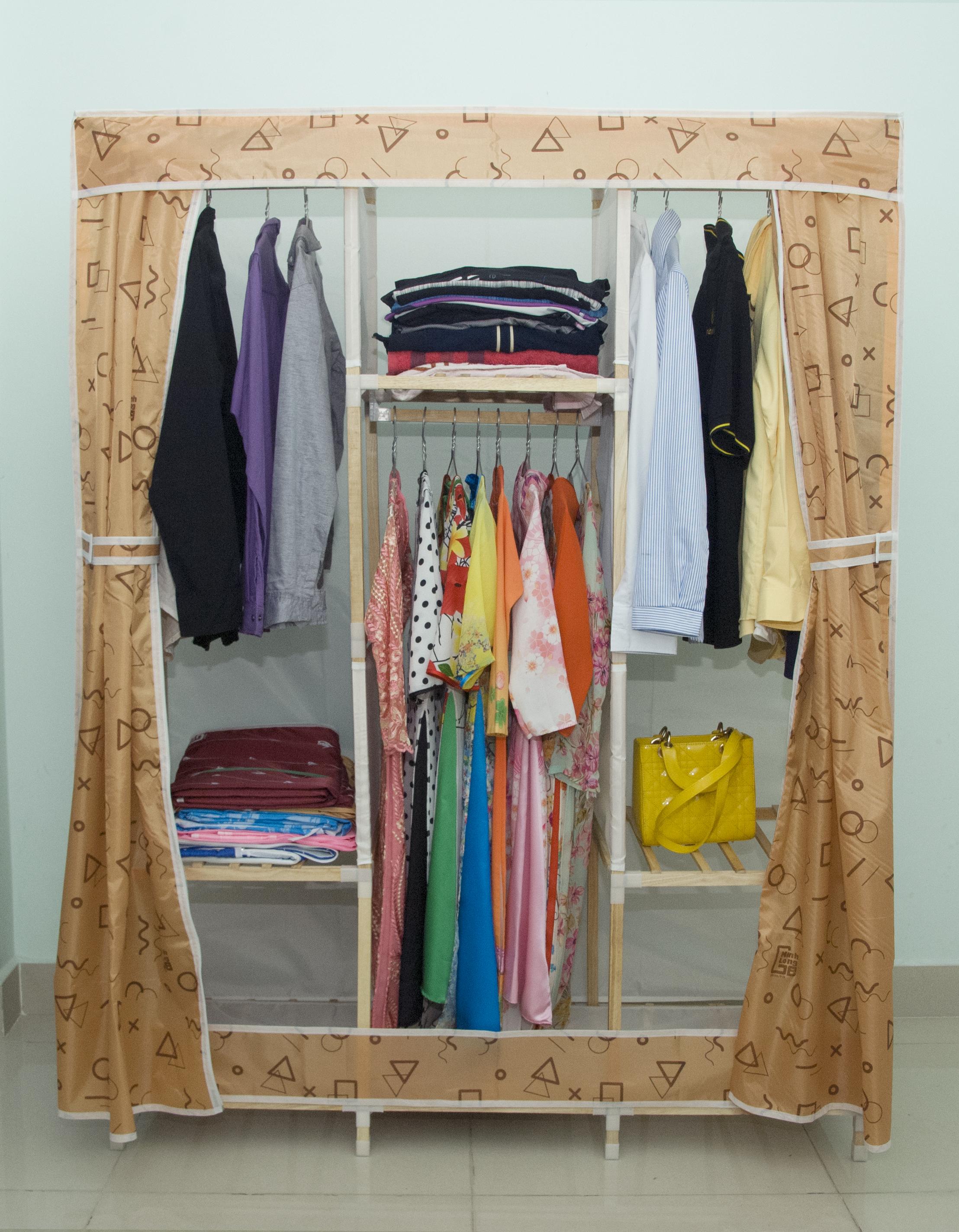 Tủ vải khung gỗ Minh Long khổ 1m3 màu vàng