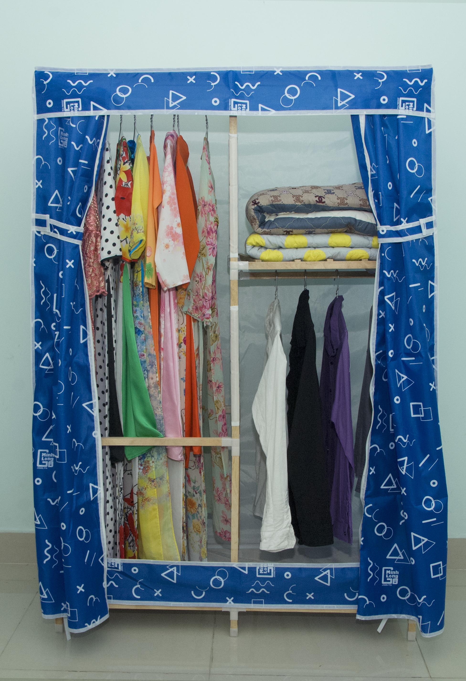 Tủ vải khung gỗ Minh Long khổ 1m1 màu xanh