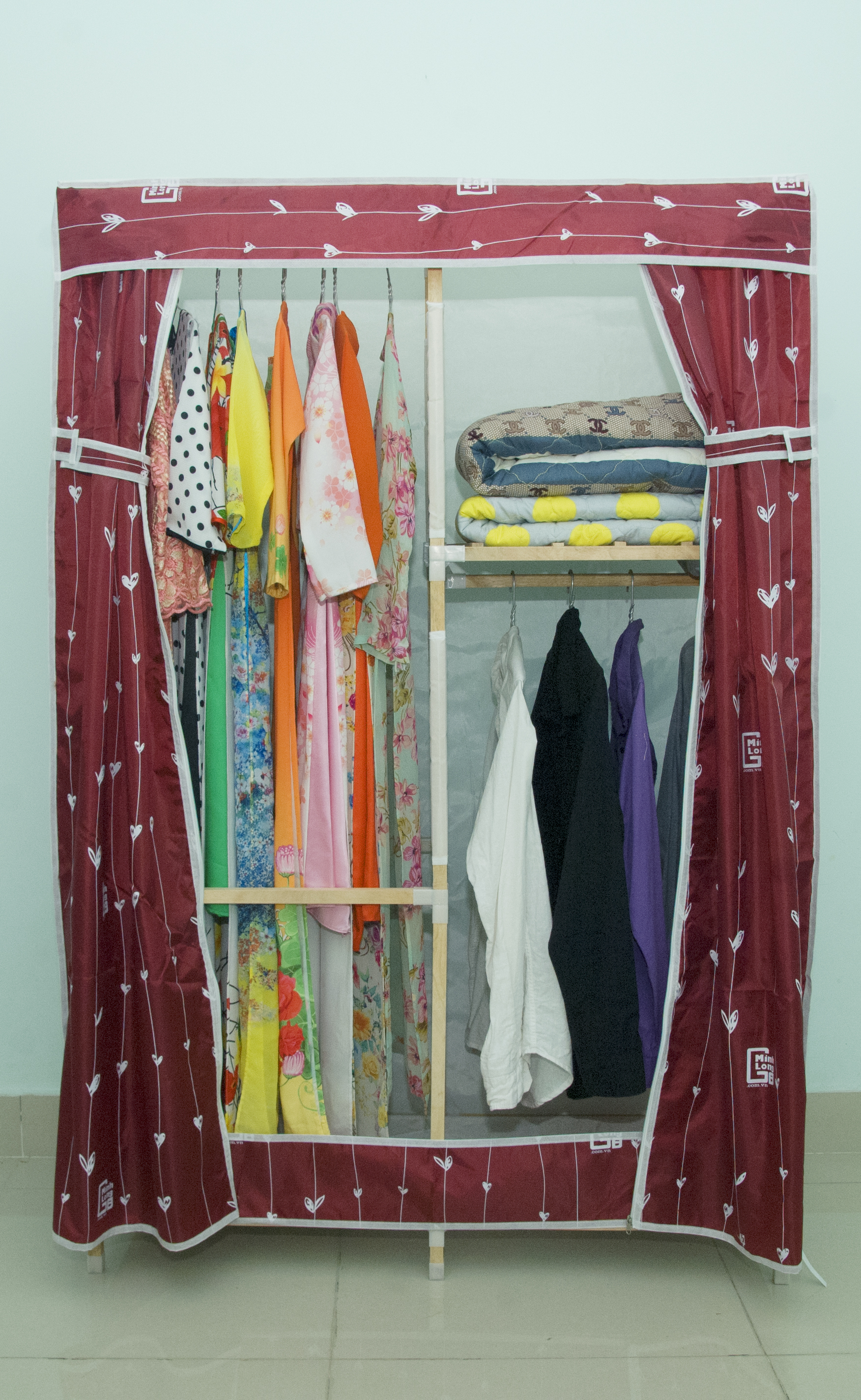 Tủ vải khung gỗ Minh Long khổ 1m1 màu đỏ