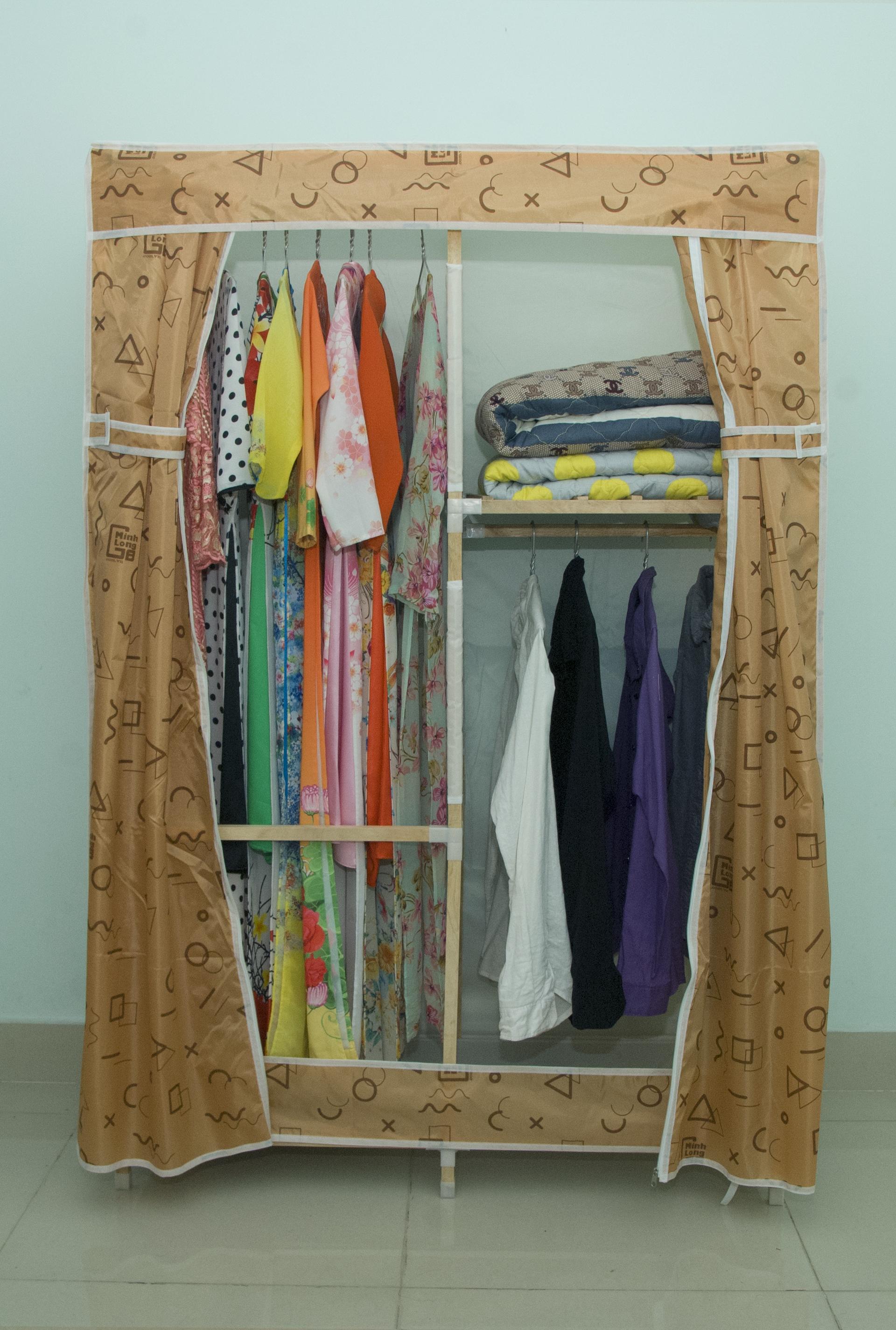 Tủ vải khung gỗ Minh Long khổ 1m1 màu vàng