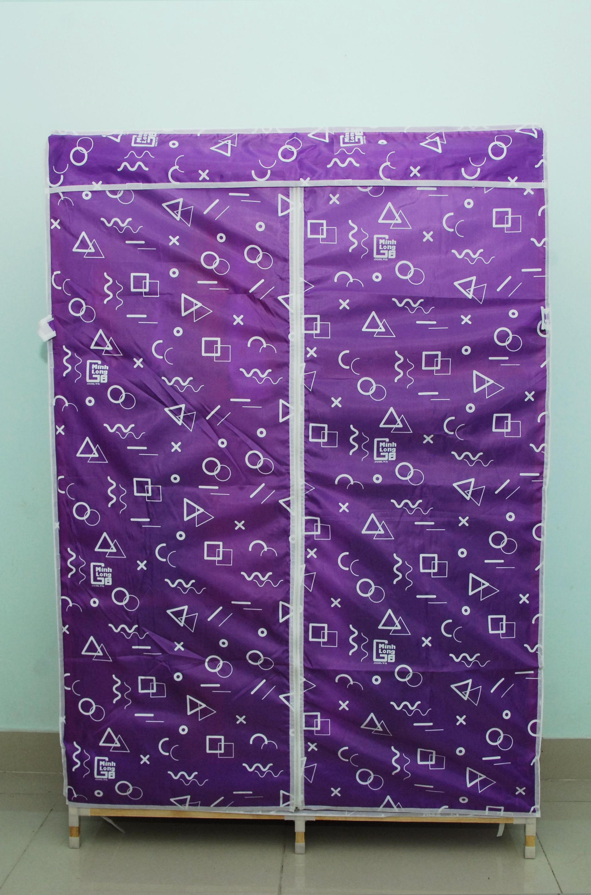 Tủ vải khung gỗ Minh Long khổ 1m1 màu tím