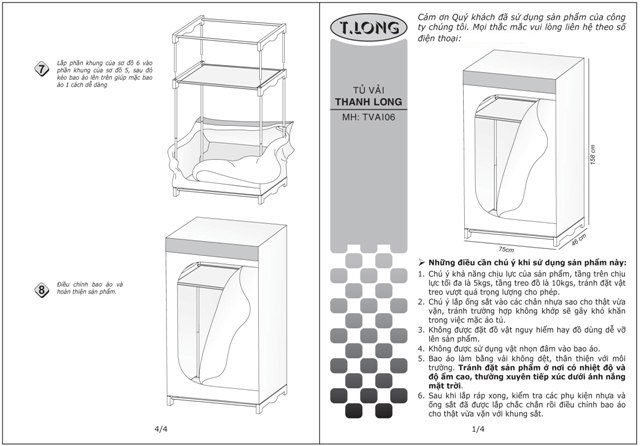 Sơ đồ cách lắp Tủ vải Thanh Long TVAI06-2