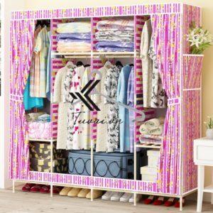 Tủ vải khung gỗ Hurghada màu hồng sọc