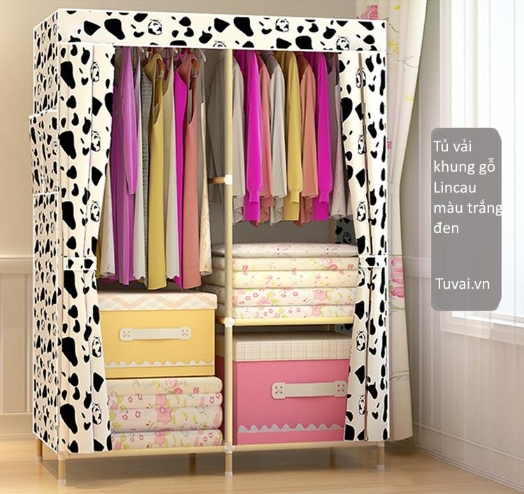 Tủ vải khung gỗ Lincau