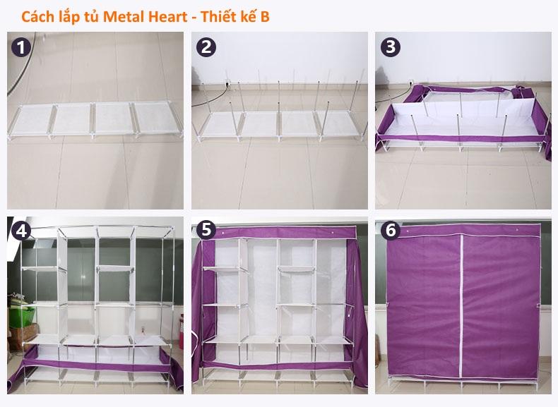 Tủ vải 4 buồng 12 ngăn metal heart