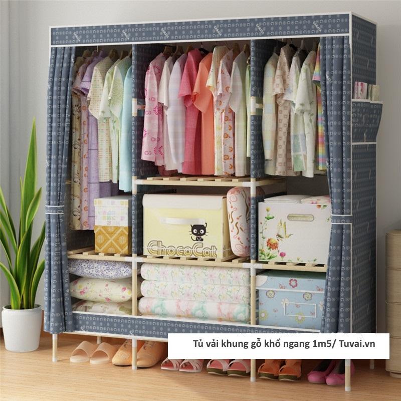 Tủ vải khung gỗ khổ 1m5 có 3 ngăn treo màu xanh tím than