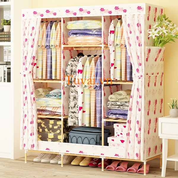 Tủ vải khung gỗ Love House