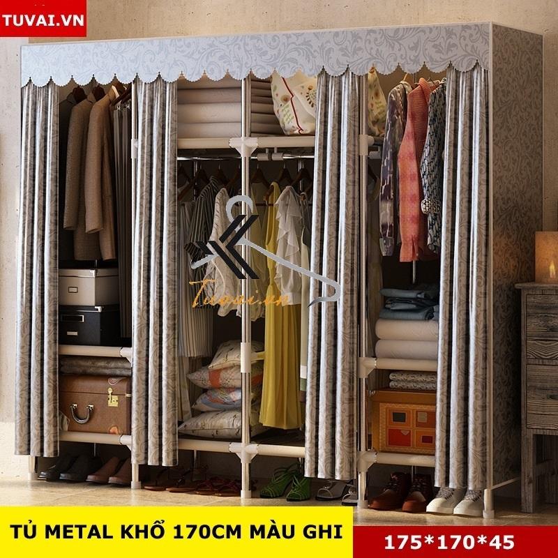 Tủ vải khung thép Inox 25mm màu ghi