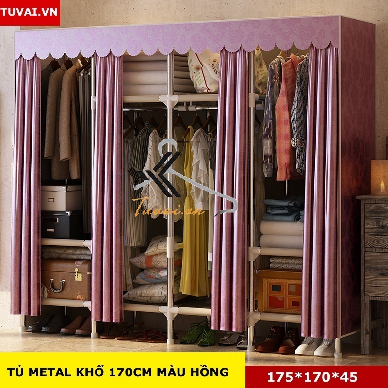 Tủ vải khung thép Inox 25mm màu hồng