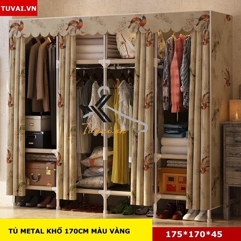 Tủ vải khung thép Inox 25mm màu vàng chim công
