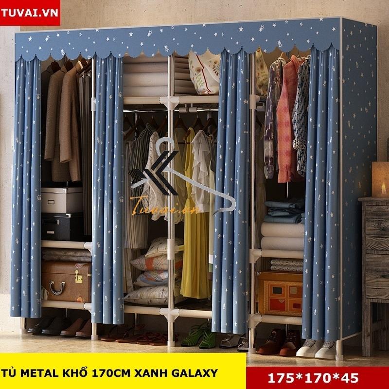 Tủ vải khung thép Inox 25mm màu xanh galaxy