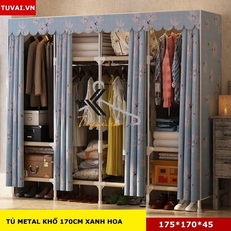 Tủ vải khung thép Inox 25mm màu xanh hoa