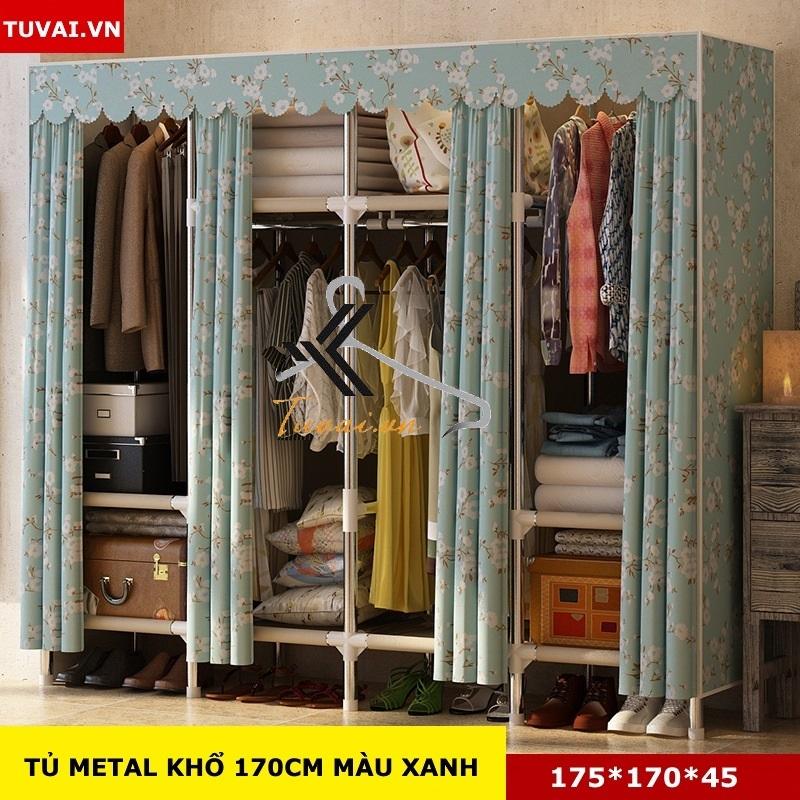 Tủ vải khung thép Inox 25mm màu xanh hoa trắng