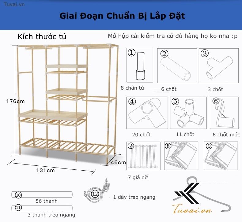 Kích thước và số lượng phụ kiện trong 1 hộp tủ vải khung gỗ Hà Nội