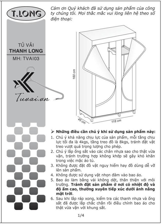 Hướng dẫn lắp tủ Thanh Long TVAI03 bước 1