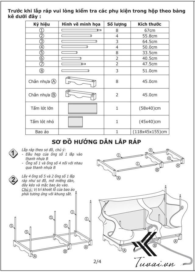 Hướng dẫn lắp tủ Thanh Long TVAI03 bước 2
