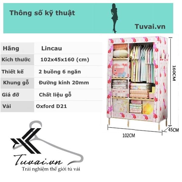 Thông số Tủ vải khung gỗ Lincau 2B6N