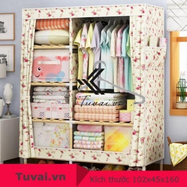 Tủ vải khung gỗ Lincau 2B6N màu kem