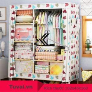 Tủ vải khung gỗ Lincau 2B6N họa tiết lá phong