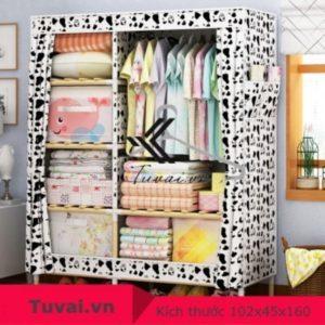 Tủ vải khung gỗ Lincau 2B6N màu trắng đen