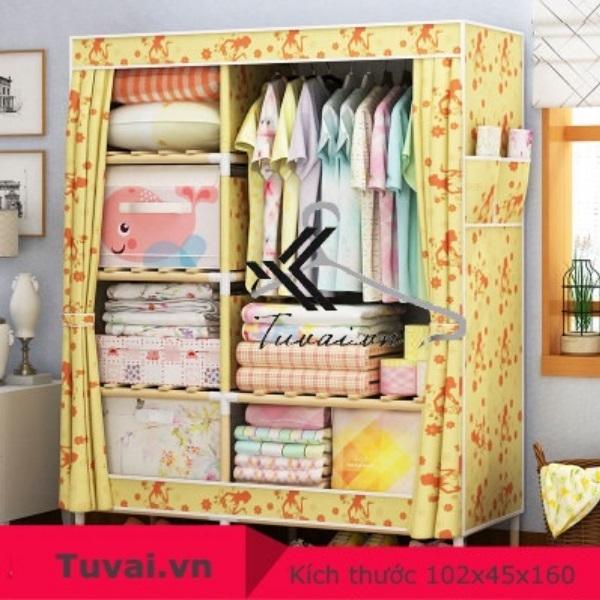 Tủ vải khung gỗ Lincau 2B6N màu vàng