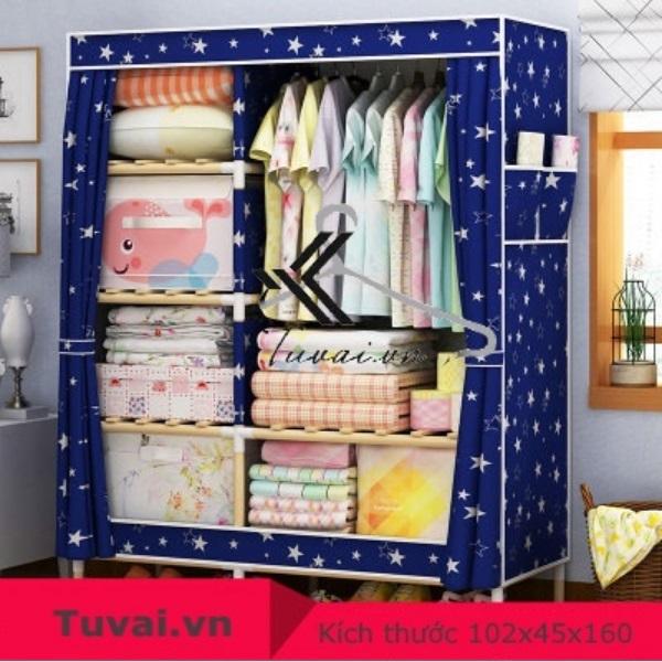 Tủ vải khung gỗ Lincau 2B6N màu xanh lục
