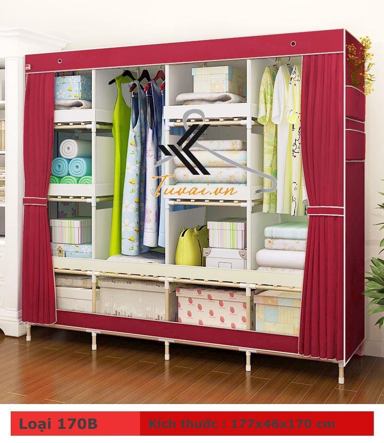 Tủ vải khung gỗ HCM màu đỏ đun