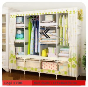 Tủ vải khung gỗ HCM màu hoa xanh