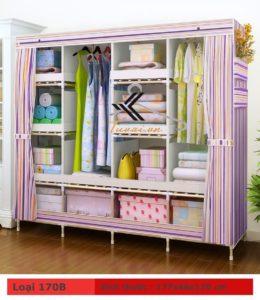 Tủ vải khung gỗ HCM màu sọc tím