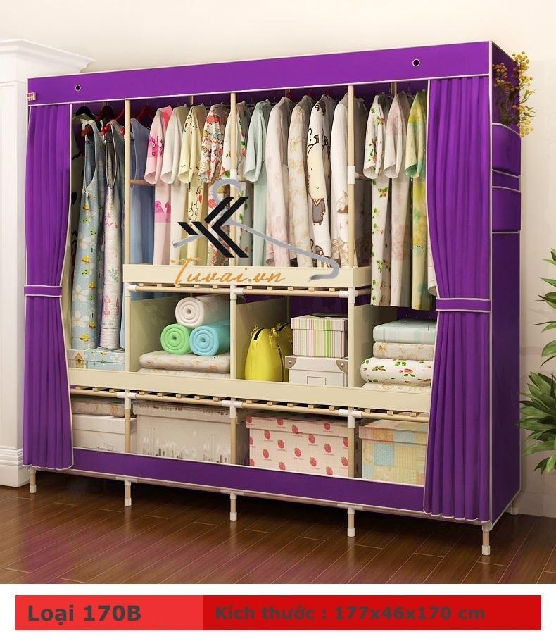 Tủ vải khung gỗ HCM màu tím