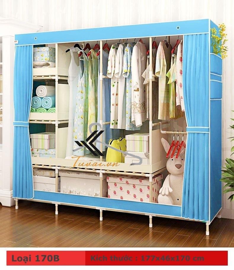 Tủ vải khung gỗ HCM màu xanh
